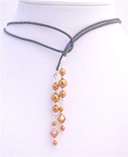 Swarovski Copper Pearls Lariat Necklace & Swarovski Copper Crystals w/ Silver Beads Spacer Necklace