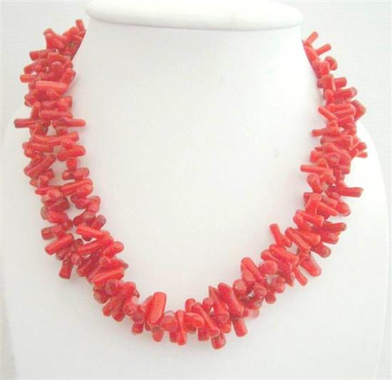 Coral Necklace on Double Strand Coral Tube Beads Stranded Necklace Sterling Silver Clasp