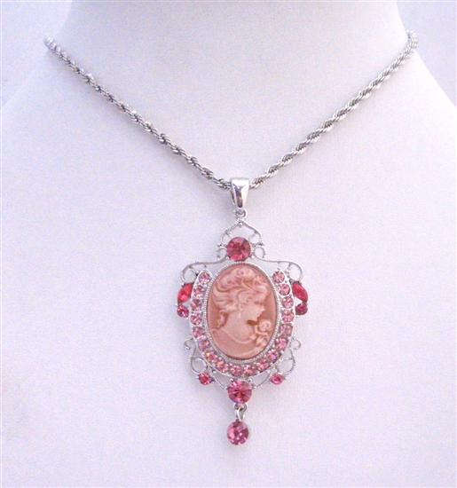 Rose Pink Sparkling Crystals Victorian Lady Cameo Pendant Necklace w/ Dangling Necklace