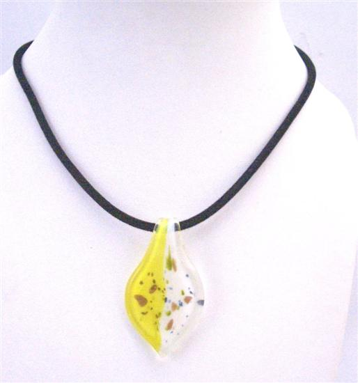 Painted Necklace Lemon & White Murano Leaf Painted With Hand Black Chord Necklace
