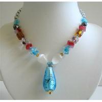 Fancy Glass Multi Colored Glass Beads Sexy TearDrop Pendant Necklace