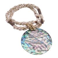 Abalone Pendant In Beige Beaded Necklace Personlized Gifts New Year Party Jewlery