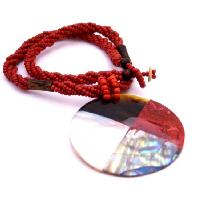Abalone Shiva Eye Teardrop  Pendant Necklace Abalone Pendant In Red Beaded Necklace Personlized Gifts New Year Party Jewlery