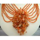 Multi Strands Choker Orange Beads w/ Floral Dangling