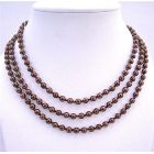 Beaded Pearls Espresso Pearls Long Necklace 56 Inches Can Wear 2 or 3 Stranded Necklace