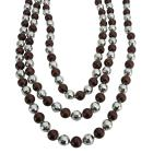 Long Pearl Necklace Brown Pearl Multifaceted Beads Fancy Beads Long Necklace