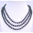 Onyx Beads Long Necklace 60 Inches w/ Silver Beads Necklace Jewelry