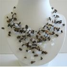 White Opal Nuggets Multi Tassel Necklace w/ Tiger Eye Nugget Classy Handmade Necklace