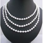White Faux Pearls Long Necklace w/ Glass Beads 58 Inches long Necklace