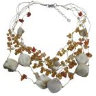Golden Beads Multi Shell In Multstrings Necklace