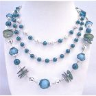 Striking Long 3 Stranded Necklace In Beautiful Indigo Color Necklace