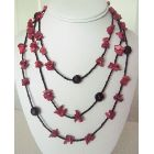 Coral Nuggets Long Necklace with Black Beads 30 Inches Long Necklace