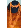 Long chain orange glass beaded MultiStrand Necklace