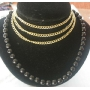 Rich Necklace with 3 strings gold chain attach to Black Boho bead