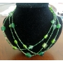 Apple Green Bead 3 Strand Neclace