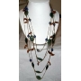 Long chain Necklace Multi Strands Beaded Stone