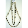 Long Necklace Cream Brown LIght and Dark Beads