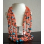 20 inches Multi Strands Genuine Angel Skin Coral & Turquoise Bead Necklace
