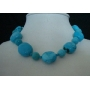 16 inches Choker Natural Blue Turquoise necklace with silver clasp