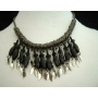 NEW!Antique Oxidised Metal Choker Bead Necklace with leave hanging !