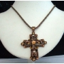 Victorian Cross Pendant In Copper Oxidized Chain and Pendant in Brown !