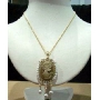 Cameo Victorian Lady Necklace Pearl & Cubic Zircon