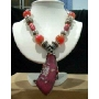 Traditional In Oxidized Bead & Red Rhine Stone Bead W/ Oxidized Pendant 17 Inches Necklace