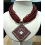 Multi Stranded Choker Necklace Red Color W/ Oxidized Diamond Shaped Pendant