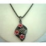 Shell Pendant Rodium Oxidized Embedded w/ crystals Flowers