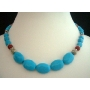 Necklace Natural Turquoise Blue w/ Bali Oxidized & Red Coral Bead Custom Handcrafted