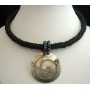 Necklace Thick Single Black Chord Choker W/ Shell Round Pendant