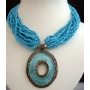 Multi Strands Choker Turquoise Color W/ Oxidized Round Shaped Pendant