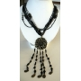Long Necklace 20 inches Multi Strand Black Color W/ Antique Gold Round Pendant