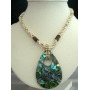 Handcrafted Beaded Necklace Cream Beads w/ Abalone Shell Pendant