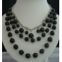 Cultured Black Pearl Necklaces w/ Three Strands Together