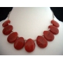 Handcrafted Necklace Simulated Coral Red Stone Choker 15 inches