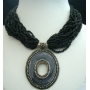 Multi Strands Choker In Black Beads W/ Oxidized Round Shaped Pendant
