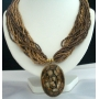 Choker Multi Strands Necklace Brown/Golden Beads W/ Oxidized Round Shaped Pendant