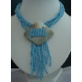Choker Multi Strands Turquoise Bead W/ Shell Pendant Necklace