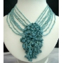 Multi Strands Choker Green Turquoise Beads w/ Floral Dangling Necklace