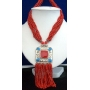 Multi Strands Long Necklace Red Beads w/ Square Pendant & Dangling