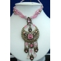 Victorian Necklace w/ Antique Gold Oxidized Pendant & Dangling!