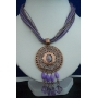 Necklace Multi Strands Purple Strings w/ Antique Gold Pendant & Dangling