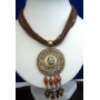 Multi Stranded Necklace Brown Strings w/ Antique Gold Pendant & Dangling