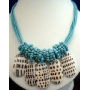 Turquoise Necklace Multi Strands w/ Shells Dangling Choker
