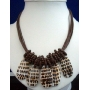 Multi Strands Necklace Brown Color w/ Shells Dangling Choker