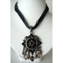Multi Strands Necklace Dark Blue(Navy) & Black Srings w/ Black & Oxidized Pendant & Dangling