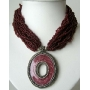 Multi Strands Choker In Red Beads W/ Oxidized Round Shaped Pendant