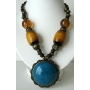 Necklace w/ Cat Eye Pendant Antique Look Necklace Simulated Tiger Eye