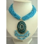 Turquoise Dangling Necklace Beaded Necklace Shell Pendant Embossed Dangling Choker